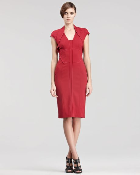 Elie Saab Folded Capsleeve Dress in Red (cherry) - Lyst