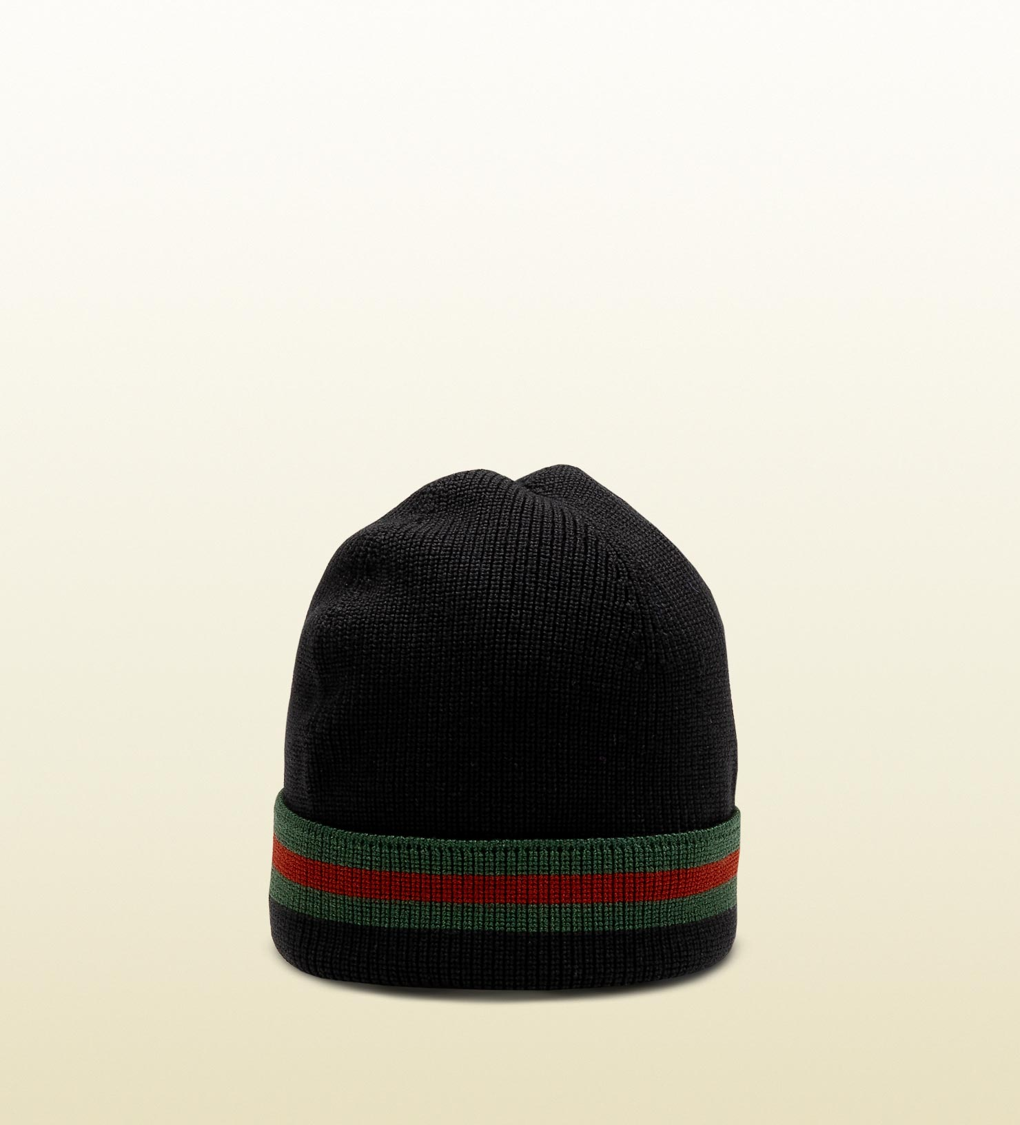 Gucci Hats For Men: Gucci Knit Wool Web Hat In Black For Men