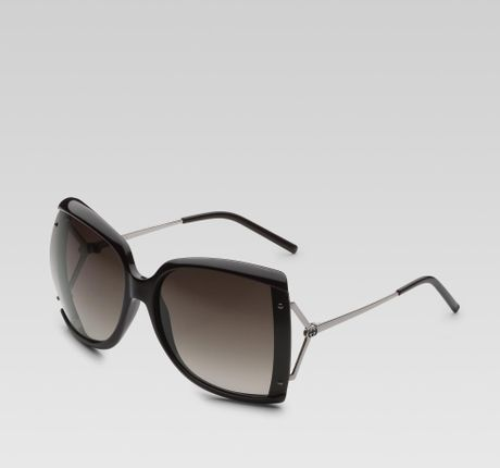 Gucci Large Square Frame Sunglasses with GG Logo and Web On Temples in Gray (black)