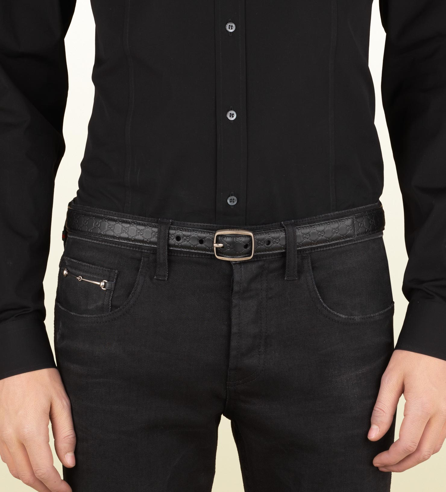 Lyst Gucci Thin Belt With Square Buckle In Black For Men