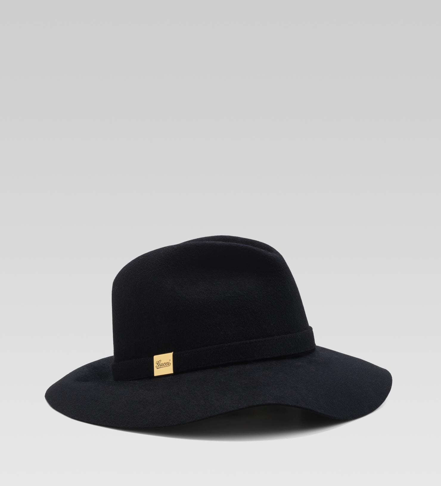 ef91516d388ca Lyst - Gucci Trilby Hat with Engraved Gucci Script Logo in Black