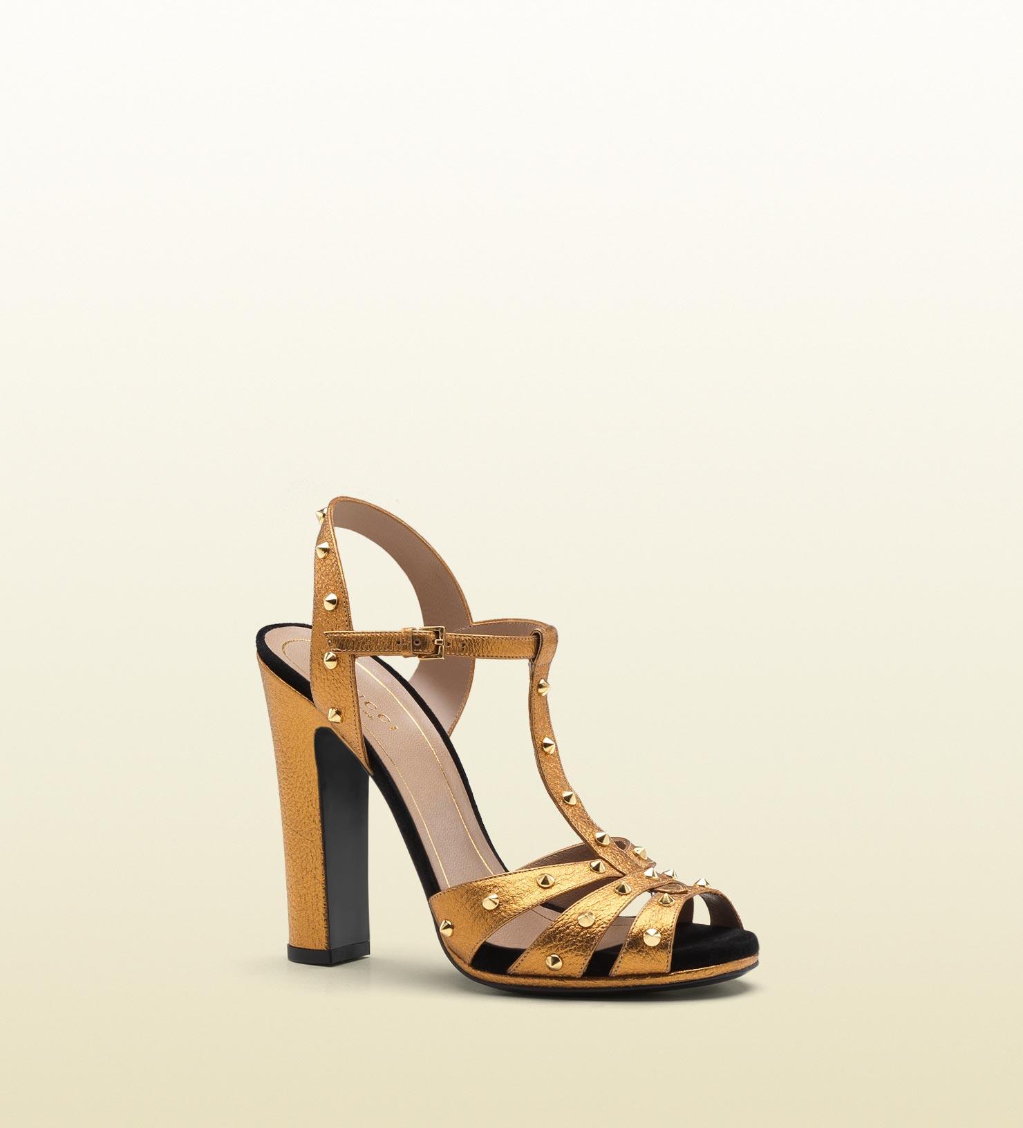 1b5aaf84d7 Gucci Jacquelyne Studded Strappy High Heel Platform Sandal in ...