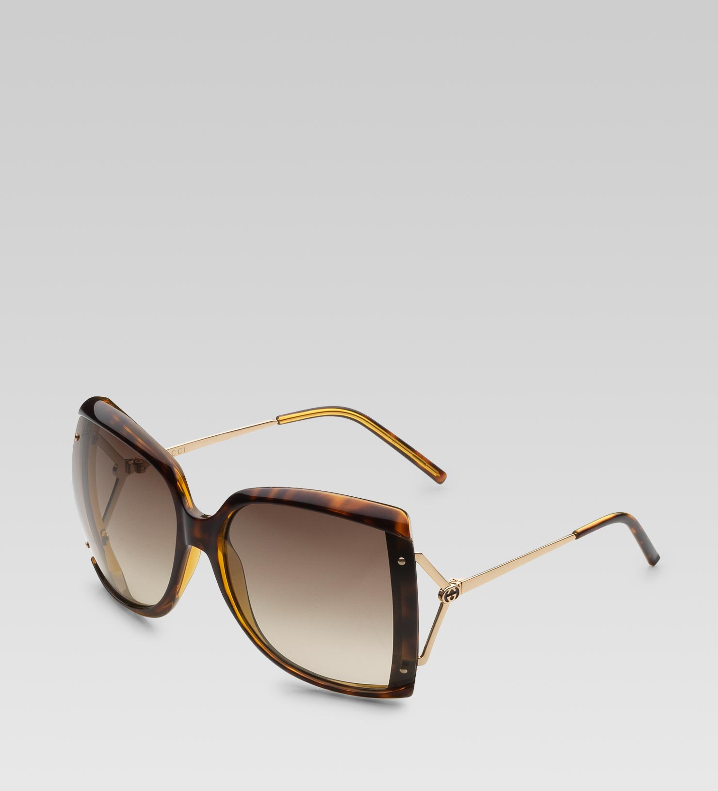 32bbf136c10 Lyst - Gucci Large Square Frame Sunglasses with GG Logo and Web On ...