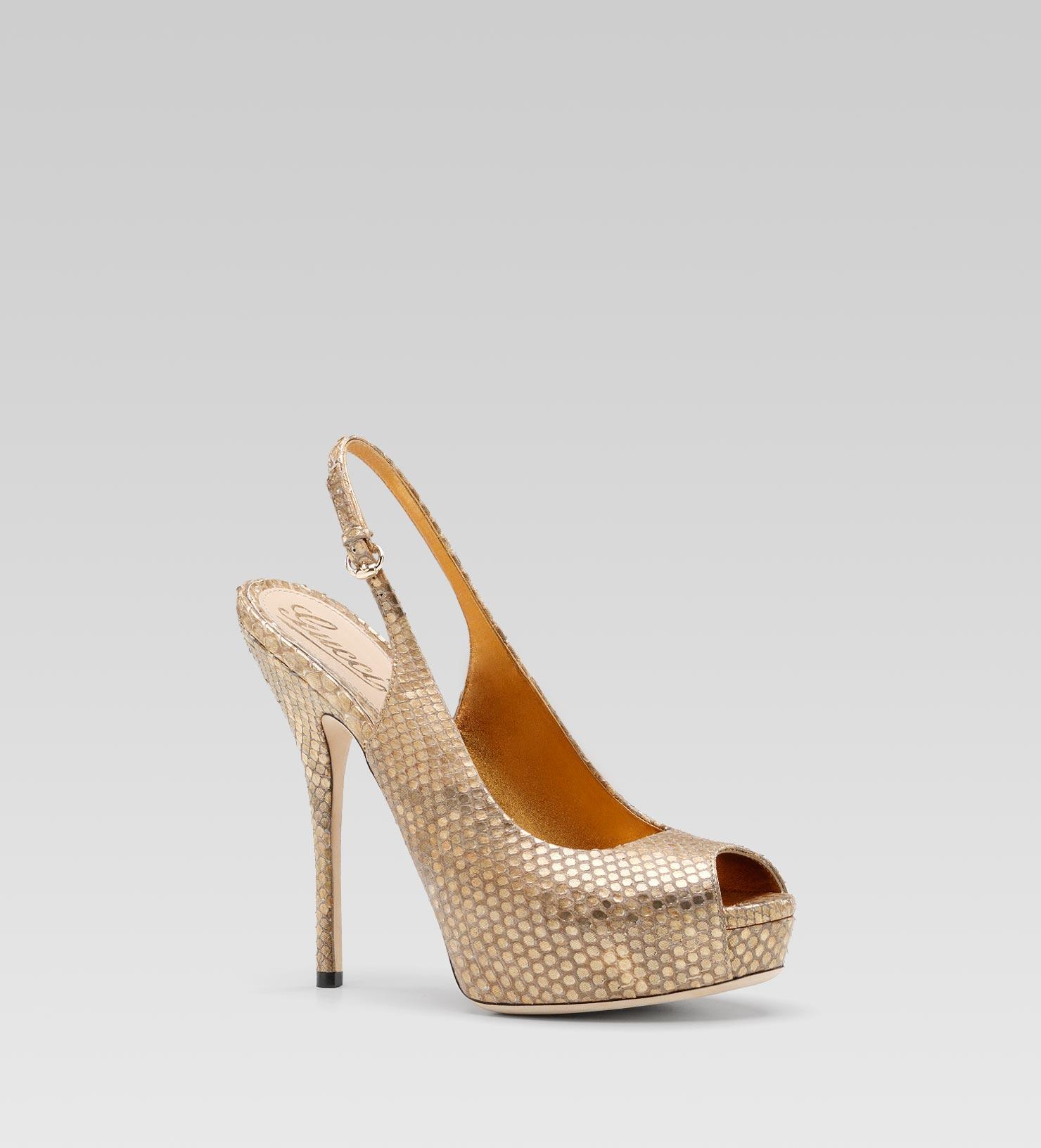 4184af10b Gucci Sofia High Heel Slingback Platform Sandal in Metallic - Lyst