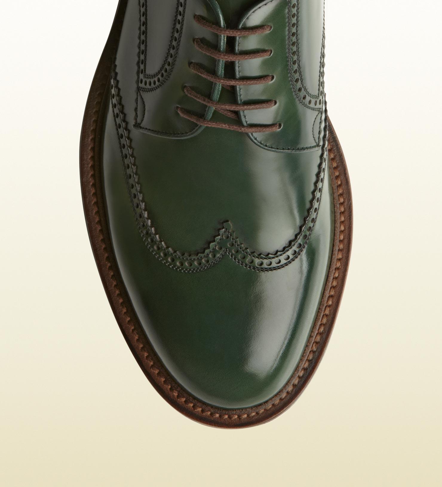 dbecc411e Gucci Laceup Brogue Shoe in Green for Men - Lyst