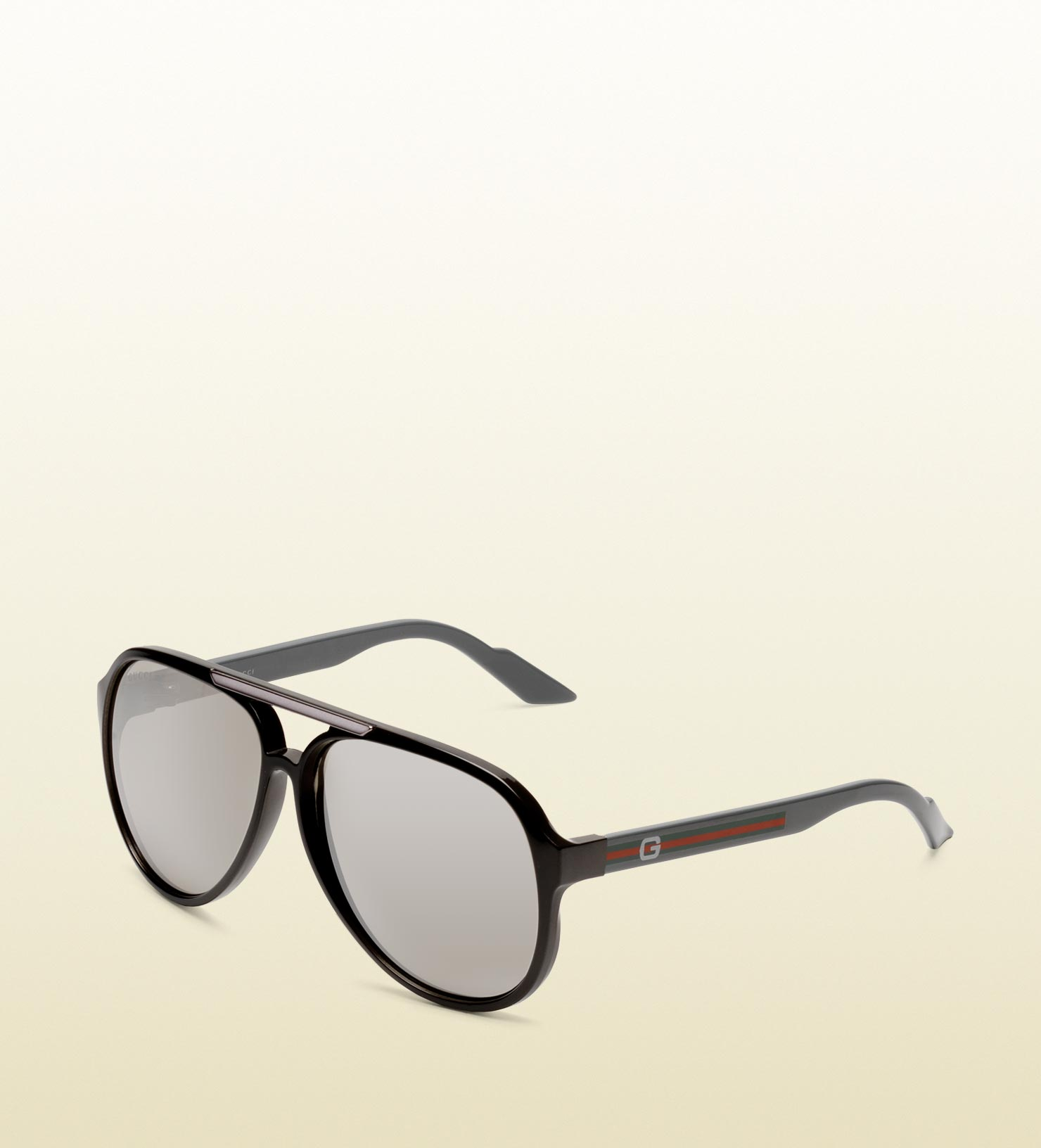 5d21a6628e3 Lyst - Gucci Medium Aviator Sunglasses with G Detail and Signature ...