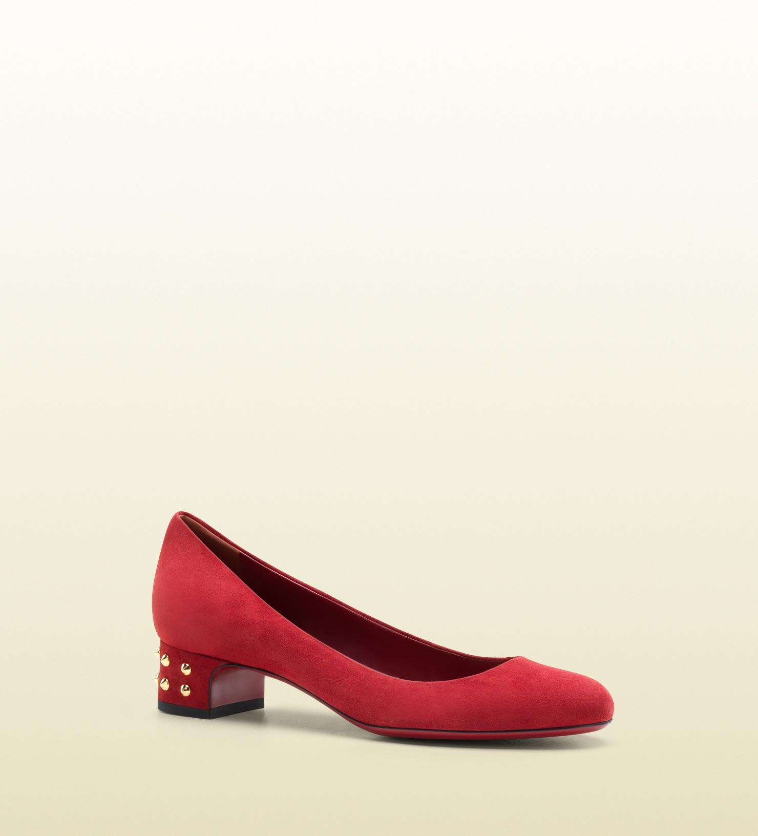 8b9ff1595d9 Lyst - Gucci Jacquelyne Studded Low Heel Pump in Red