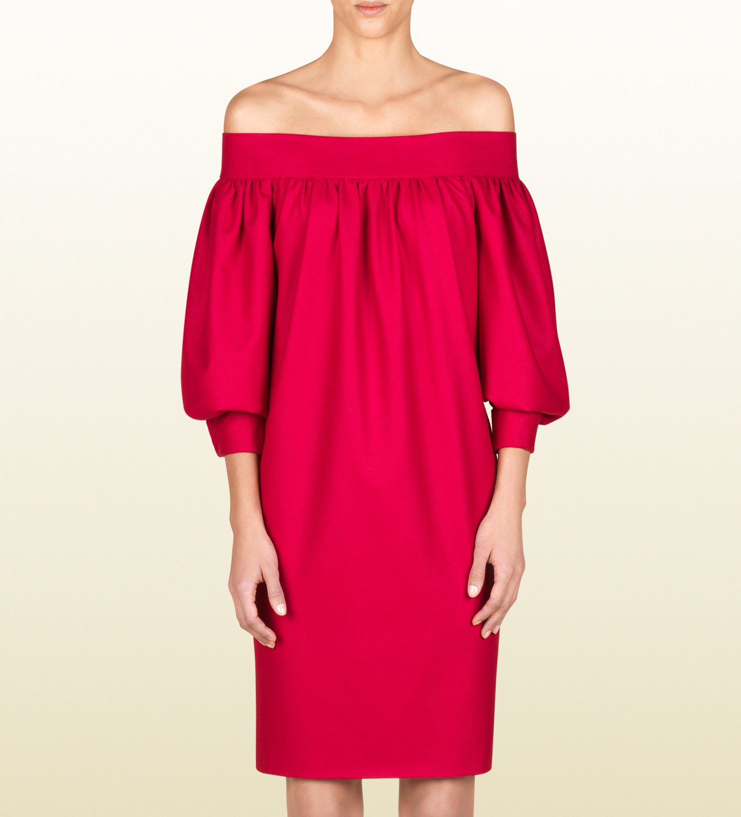 3adc7dcaf7dd Lyst - Gucci Off Shoulder Dress in Red
