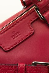 Gucci Vintage Web Red Leather Boston Bag - Lyst