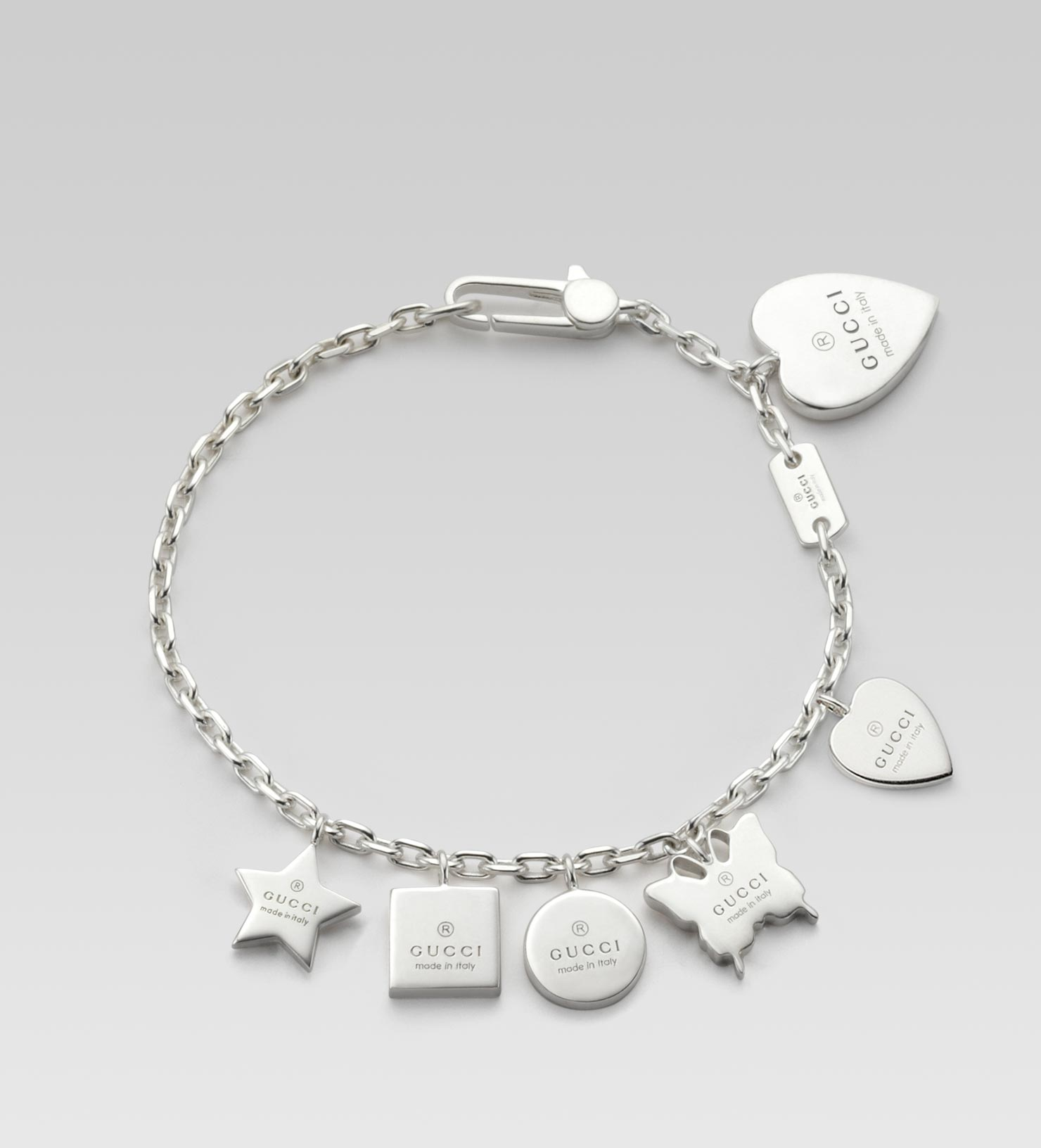 82136e479 Gucci Bracelet with Gucci Trademark Engraved Charms in Metallic - Lyst
