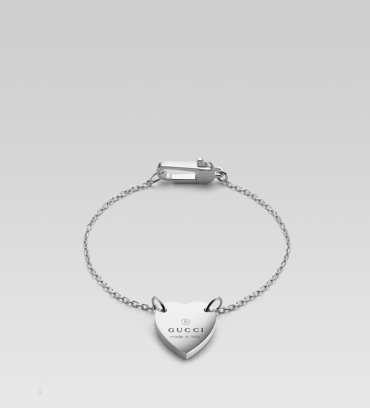 Bracelet With Hearts: Gucci Bracelet With Trademark Engraved Heart In Silver