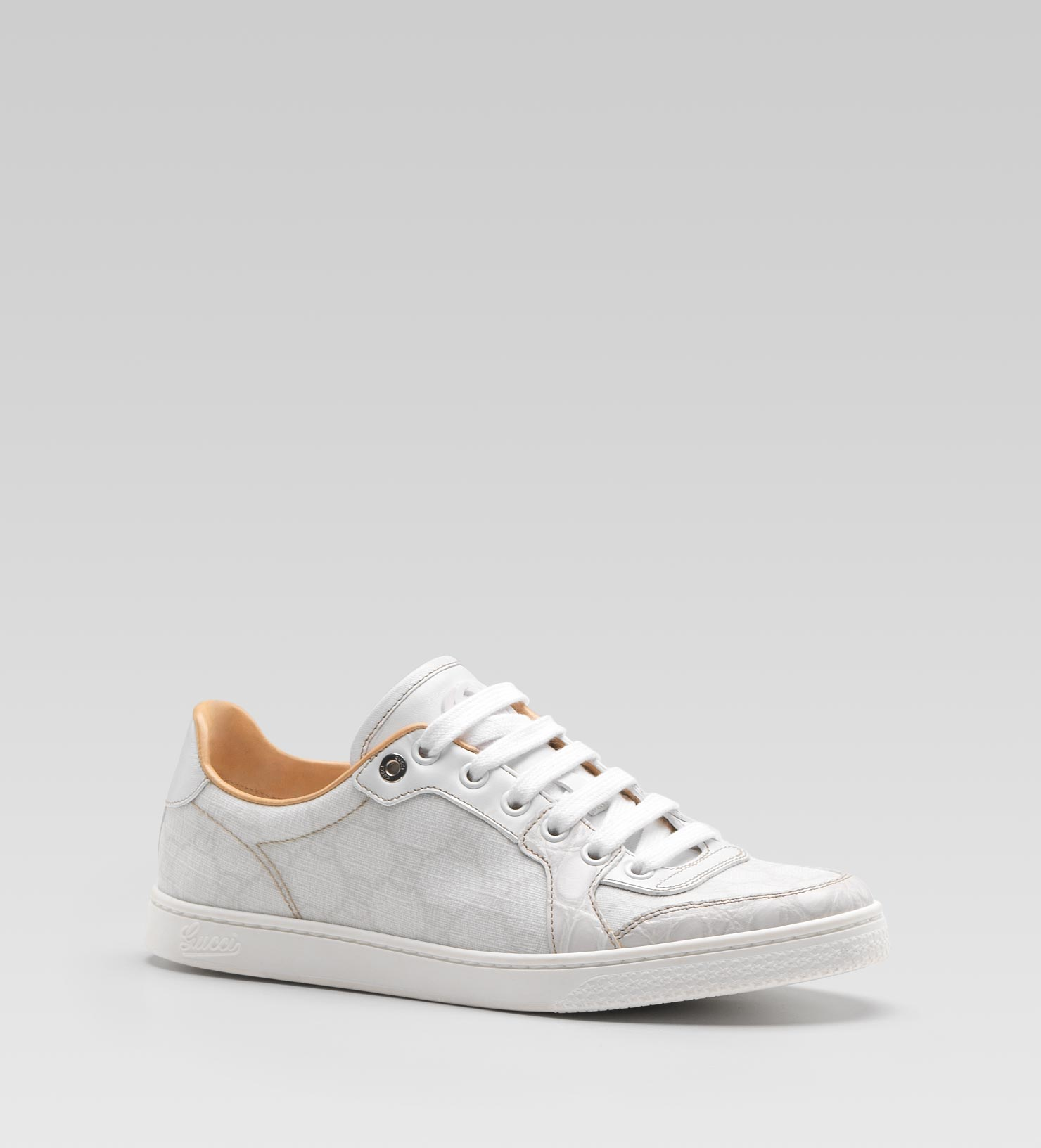 6b4c8bc08cb Gucci Coda Low Laceup Sneaker with Interlocking G Detail in White - Lyst