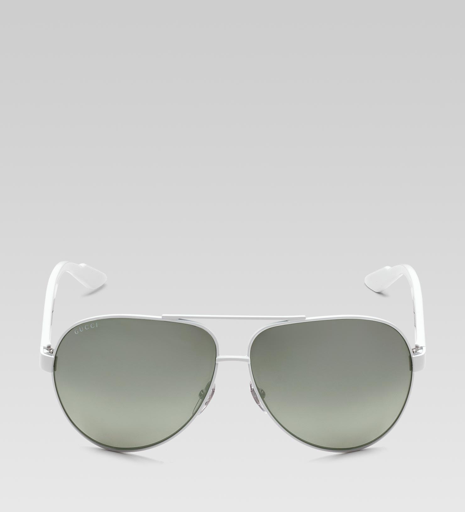 064143648e8 Gucci Medium Aviator Sunglasses in White for Men - Lyst