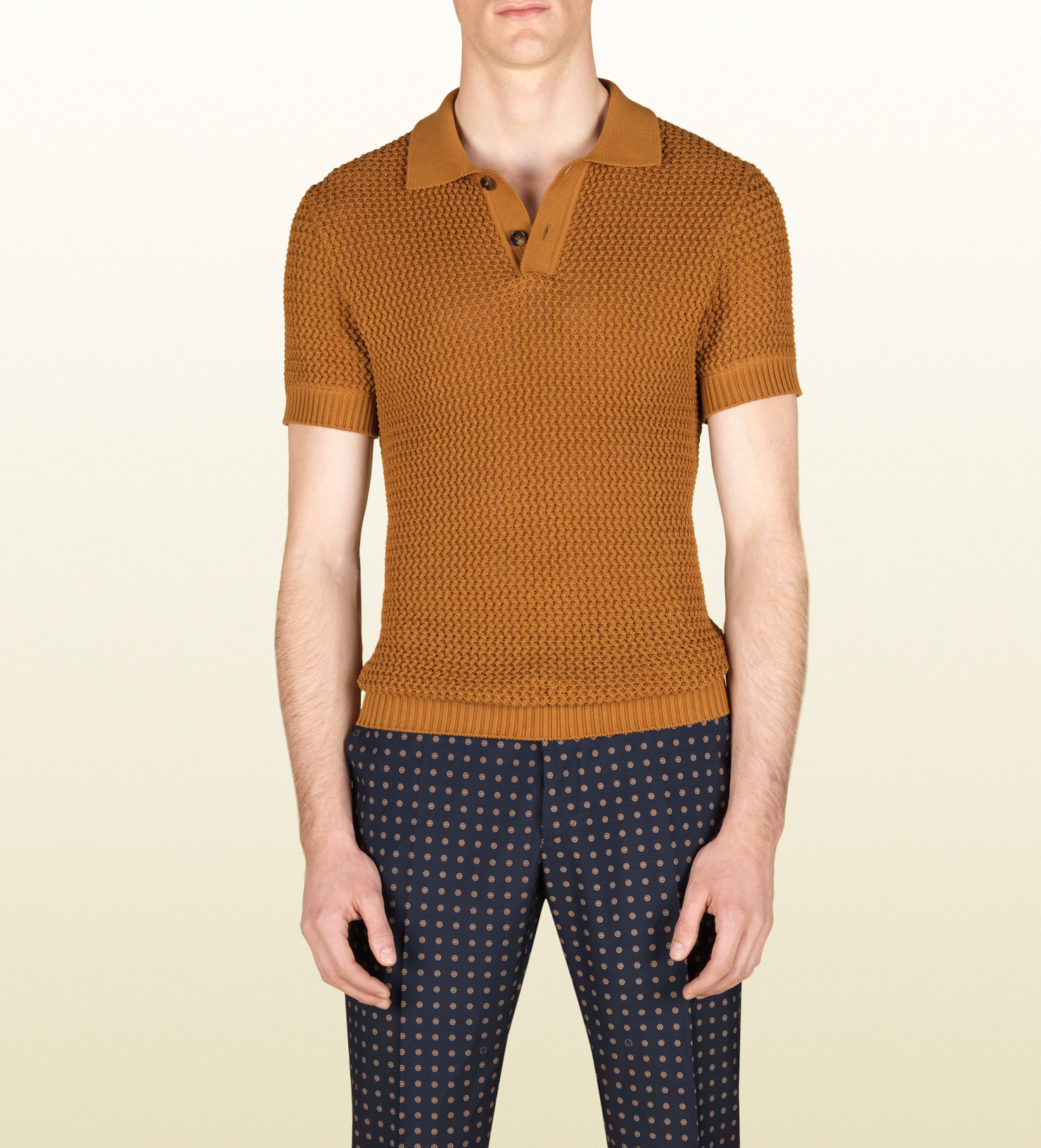 Lyst gucci knit polo shirt in yellow for men for Knitted polo shirt mens