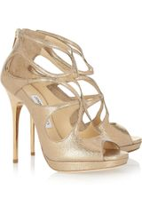 Jimmy Choo Loila Metallic Textured Leather Sandals in Gold - Lyst