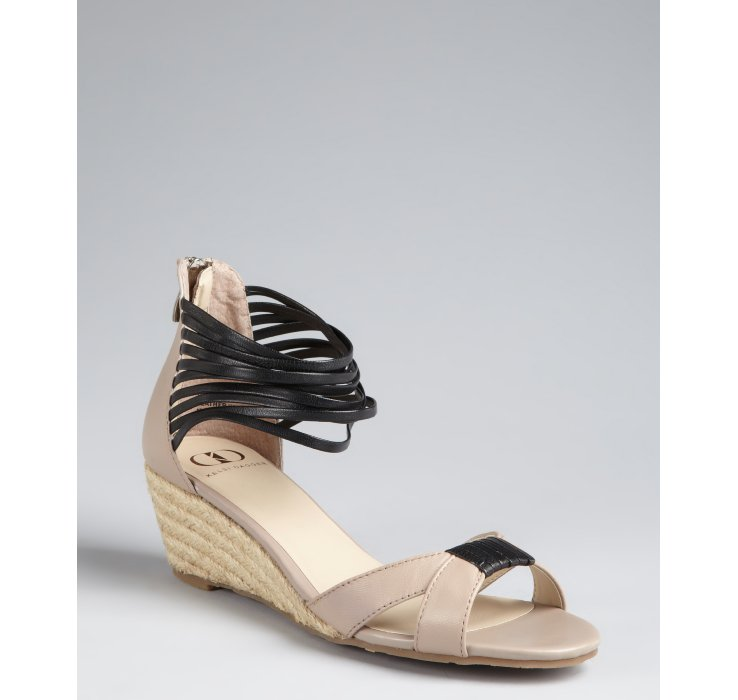 kelsi dagger taupe and black leather paula wedge sandals