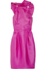 Lela Rose Angel Wing Ruffled Silkorganza Dress in Pink (fuchsia) - Lyst