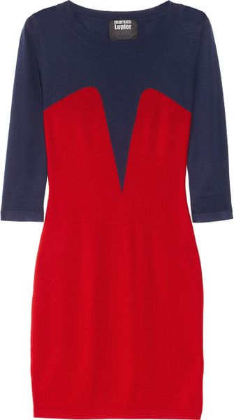 Markus Lupfer Bodice Intarsia Merino Wool Sweater Dress in Blue (navy) - Lyst