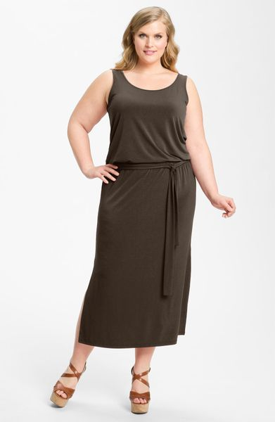 Michael By Michael Kors Sleeveless Blouson Maxi Dress in Brown (bark)