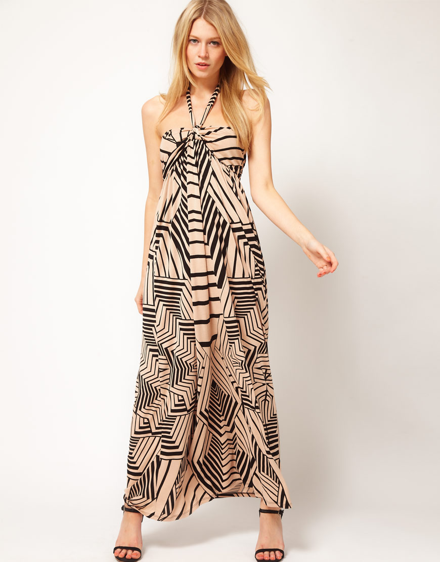 Oasis Oasis Border Stencil Maxi Dress in Natural | Lyst