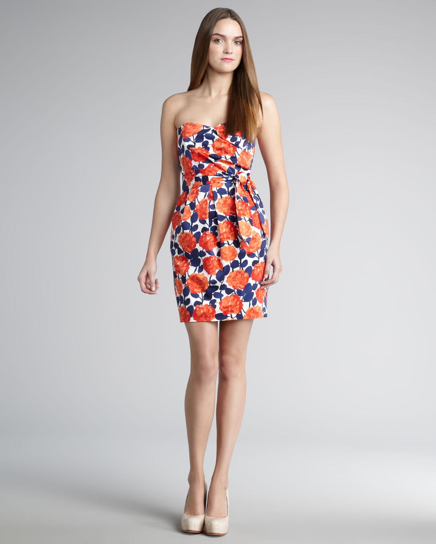 Shoshanna Sylvie Floral Strapless Dress  Lyst