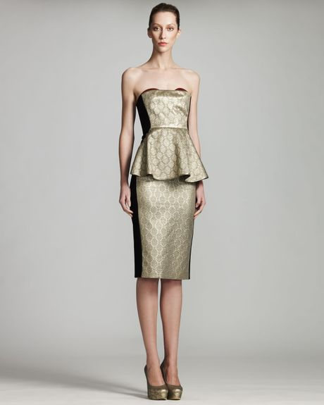 Stella Mccartney Metallic Bustier Dress in Gold (gldmet) - Lyst