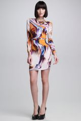 Vera Wang Long Sleeve Oil Slick Printed Dress - Lyst