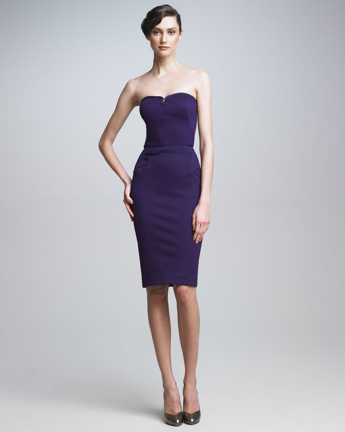 Zac posen Strapless Sheath Dress in Purple | Lyst