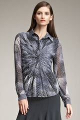 Armani Pleated Front Print Blouse - Lyst