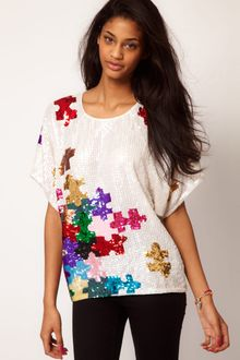 ASOS Collection Asos Tshirt with Puzzle Sequin Embellishment - Lyst