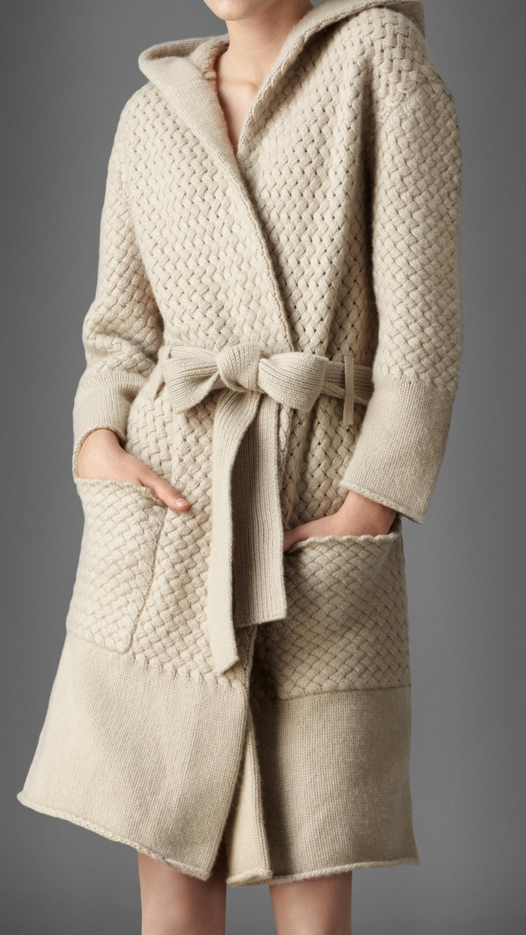 Lyst Burberry Waffle Knit Cashmere Dressing Gown In Natural