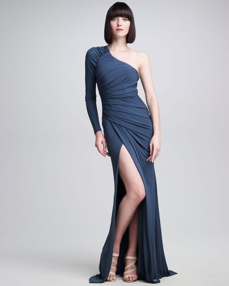 Elie Saab One Sleeve Ruched Jersey Gown in Blue - Lyst