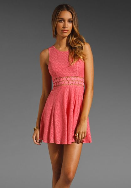 Free People Daisy Waist Dress in Pink (peach cobbler) - Lyst