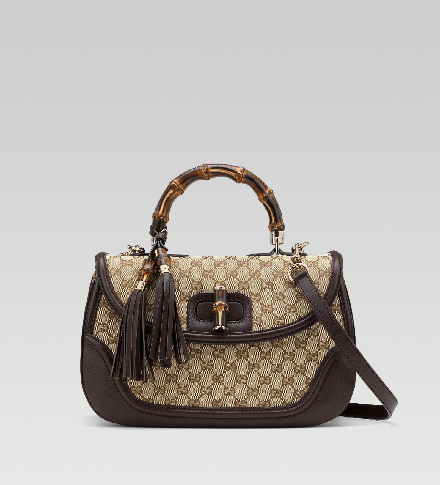 ea0f2c11a5bf Gucci New Bamboo Original Gg Canvas Top Handle Bag in Natural - Lyst