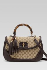 Gucci New Bamboo Original Gg Canvas Top Handle Bag - Lyst
