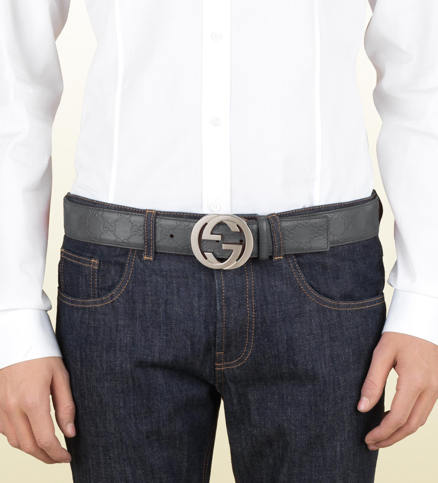 afa13525458f Gucci Ssima Leather Belt With Interlocking G Buckle in Gray for Men ...