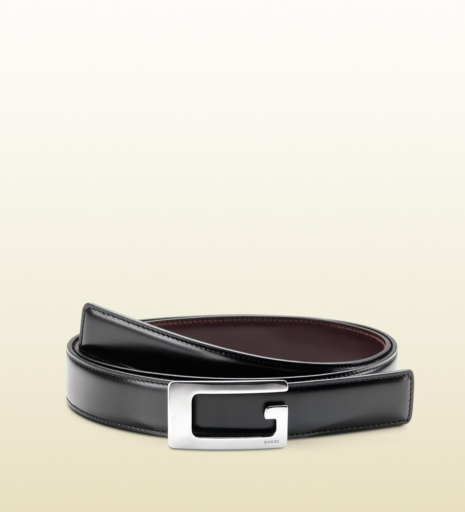 859bb6e40ba0dc Gucci Reversible Leather Belt With Rectangular G Buckle In Black For