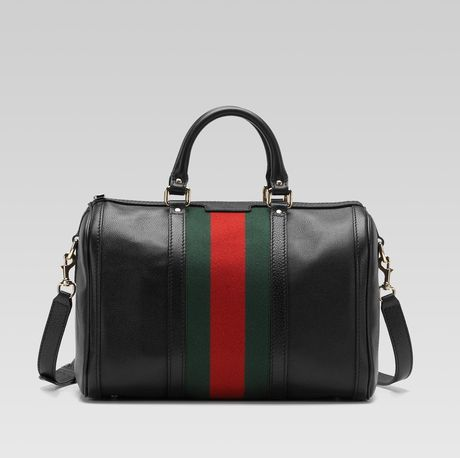 Gucci Vintage Web Boston Bag in Black