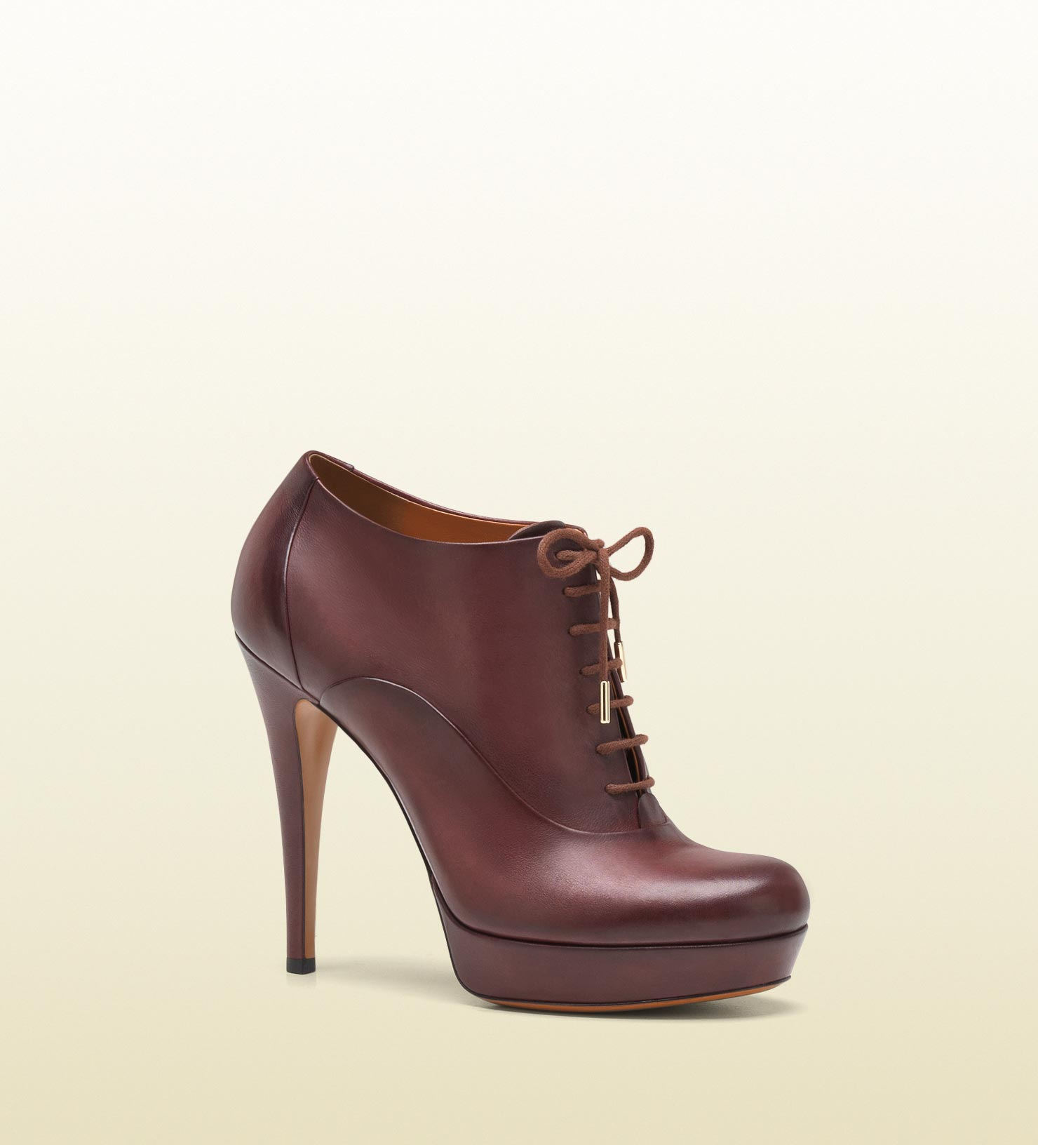 gucci betty laceup high heel platform bootie in brown bordeaux lyst. Black Bedroom Furniture Sets. Home Design Ideas