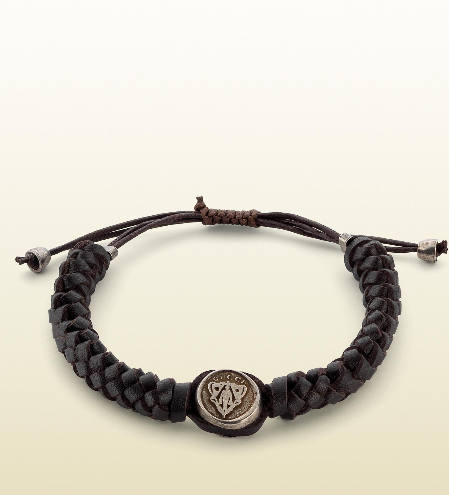 gucci woven leather bracelet with gucci crest tag in brown