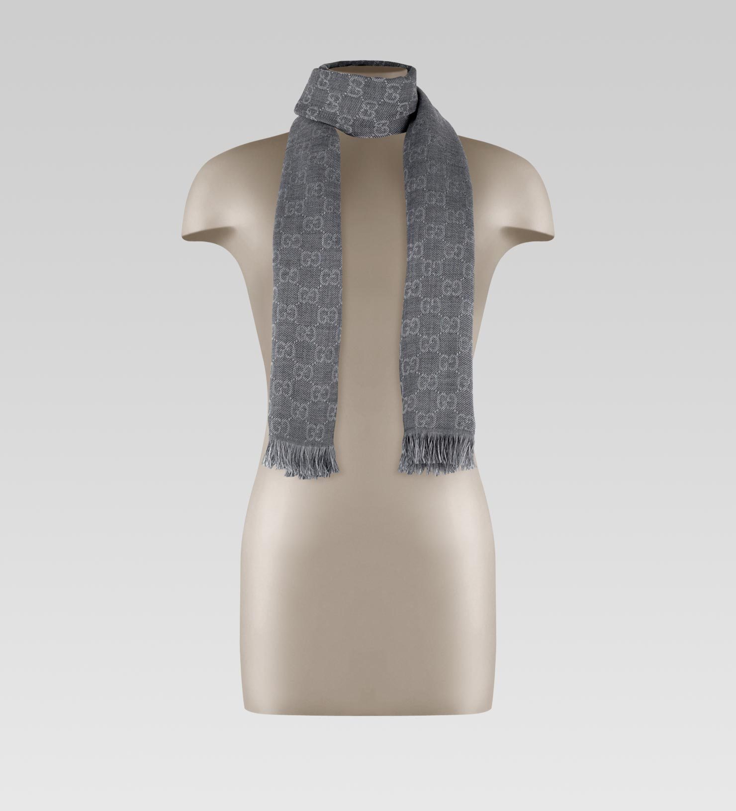 Lyst - Gucci Gg Jacquard Pattern Knit Scarf With Fringe in Gray for Men 6ef4c56ad85