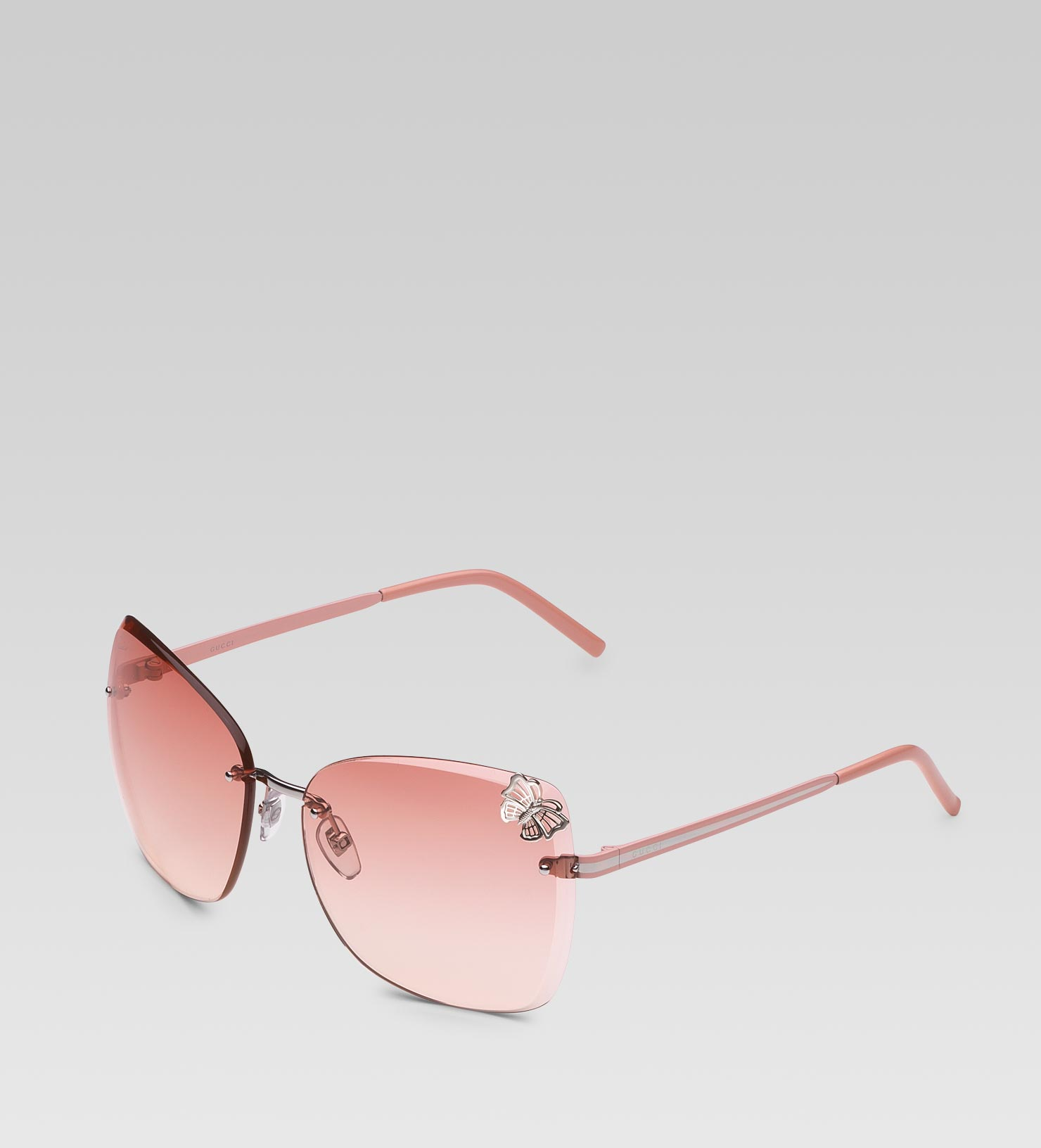 Gucci Sunglasses With Logo On Lens  gucci medium erfly frame sunglasses with small filigree