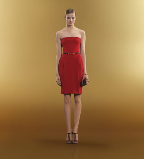 Gucci Belted Strapless Dress in Red - Lyst