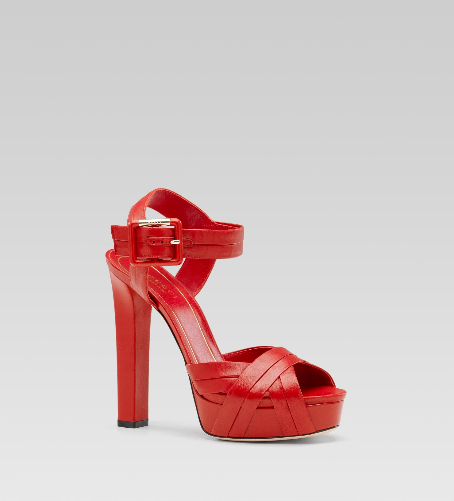gucci jamie high heel platform sandal with ankle strap in red lyst. Black Bedroom Furniture Sets. Home Design Ideas