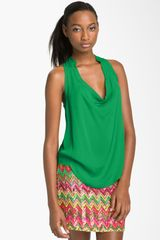 Haute Hippie Drape Neck Sleeveless Silk Top - Lyst