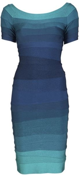 Hervé Léger Johanna Ombre Dress in Blue (aqua) - Lyst