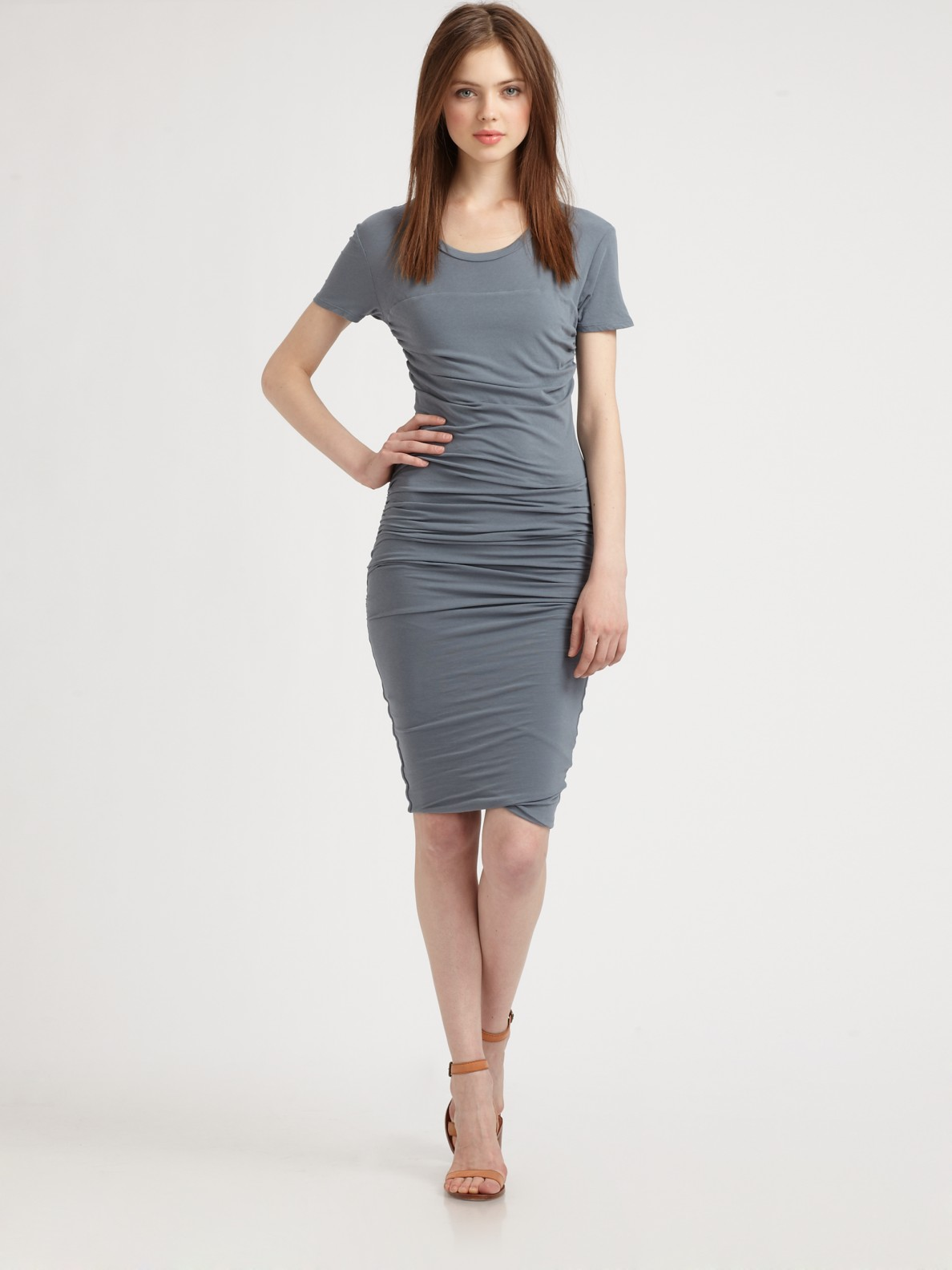 Lyst James Perse Ruched T Shirt Dress In Gray