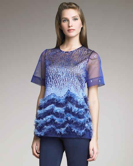 Lela Rose Dotted Organza Fringe Top in Blue (navy) - Lyst