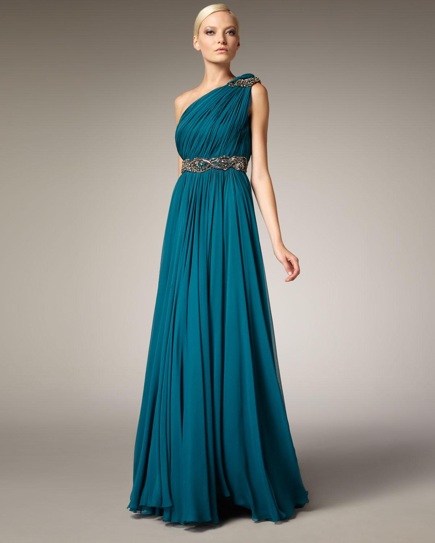 Marchesa Grecian e shoulder Gown in Blue