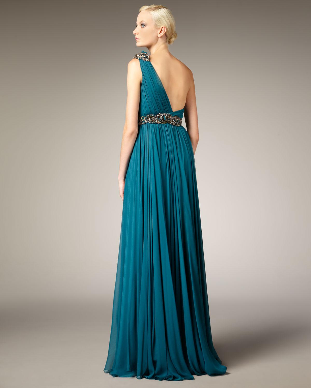 Lyst - Marchesa Grecian One-shoulder Gown in Blue
